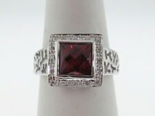 Natural Red Garnet Genuine Diamonds Solid 14K White Gold Ring FREE Sizing