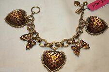 NWT! NWT! BETSEY JOHNSON Lg Leopard Cheetah Heart Bow Toggle Charm Bracelet $65