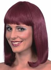 Burgundy Cheerleader Wig Shoulder Length Fringe Fancy Dress School Girl Wig