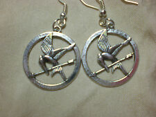Mockingbird Earrings Drop Dangle Silver Katniss Inspired