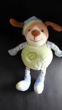 Doudou peluche musical HS chien vert bleu brodé feuille GIPSY 22cm