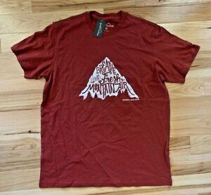 """EDDIE BAUER Men's Red """"Breathe The Fresh Mountains"""" Outdoor Graphic T-Shirt Sz M"""