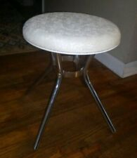 Cosco Round Short/Foot Stool. Vintage Retro White Vinyl Seat. Mid-Cent Furniture