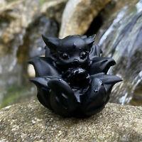 """2.2"""" Natural obsidian Gumiho Quartz Crystal Carved Skull Reiki Healing 1PC"""