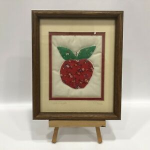 Vintage Wood Framed Finish Floral Red Apple,Apple Quilt Patch By Maija