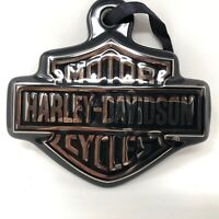 Harley Davidson Motorcycles Bars Shield Logo Christmas Ornament Silver Black