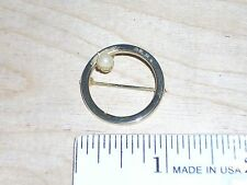 One Goldtone 7/8 Inch Diameter Circle O Ring w/ Faux Pearl Brooch Pin