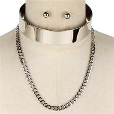 "14"" silver layered chain open cuff choker necklace .25"" earrings .80"" wide"