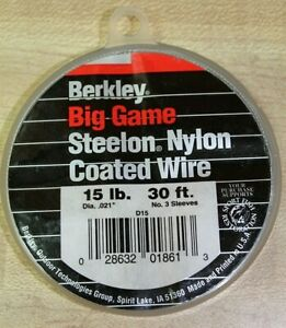 Berkley Steelon Nylon Coated Fishing Wire Leader Material D15& D20 - 30ft