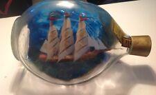 Vintage Model Tall Sailing Ship in a Haig's Whisky Dimple Glass Bottle Folk Art