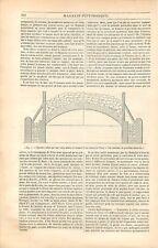 Architecture Voûte Mince Briques Ciment de Vassy Parker demi-arches GRAVURE 1839
