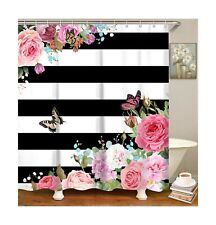 Livilan Black White Stripes Shower Curtain Set with 12 Hooks Fabric Bath Curt.
