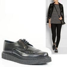 38 NEW $1015 SAINT LAURENT YSL Black Glazed Leather CREEPER Oxfords Womans Flats