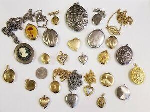 AWESOME Large Vintage Mod Lockets Jewelry LOT 14kgf 925 12kgf Fran Mar+