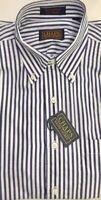 CHAPS Men's Blue/White Striped LS 100% Cotton Button Down Shirt SZ M NWT