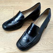 Clarks Ladies Black Leather Square Toe Court Heel Shoes UK 6 EUR 39.5 US 8
