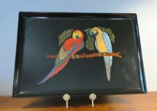 "Large Couroc 18"" Tray with Two Tropical Macaw Parrot Birds"