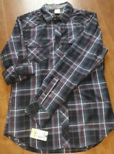 Young Mens Rustic Blue L/S Button Down Shirt Dark Blue Plaid w red & white Small