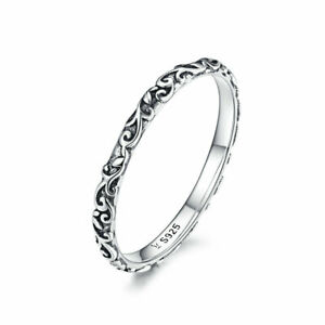 Vitage Thin Band Retro Patterns Rings For Girls Stackable S925 Sterling Real