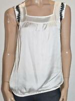 HOT OPTIONS Brand Cream Silky Lace Trim Sleeveless Top Size S BNWT #sZ47