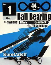SURE CATCH Moschettoni  Black Ball Bearing Coast Lock Swivel Solid Ring - Size 1