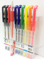 Gel Pen Ball Point Fine Tip Office/Home/School 10 Pens Multi Colour