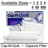 Cap M Quik Capsule Filling Machine Kit W or W/O TAMPER Size 0 00 000 1 2 3 or 4