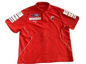 PUMA Ducati Corse Red Biker Short Sleeve Polo Shirt Mens 2XL Extra Large Racing