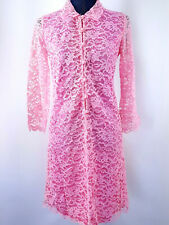 Vintage 1960s Mod Dress Size S Mini Lace Pink Flared Sleeves Go Go Short