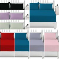 """100% POLY COTTON 12""""/30 CM DEEP FITTED BED SHEET SET WITH PILLOWCASE BED COVER"""