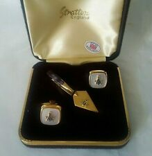 Vintage Stratton Masonic Cuff Links & Tie Clip Set Boxed