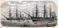 NAPOLI: Porto:Navi da Guerra Francesi.Regno delle Due Sicilie.Stampa Antica.1860