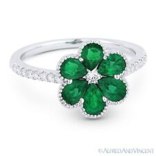 1.18 ct Pear-Shape Emerald & Diamond Pave 18k White Gold Right-Hand Flower Ring