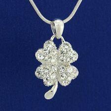 W Swarovski Crystal Clover Shamrock Luck Pendant Necklace Jewelry Gift