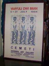 "Java Indonesia Modern Art 1994 Block Print Yamyuli Dwi Iman 24x16"" Cemeti Jogja"