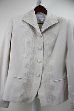 Executive Collection 100% Polyester Beige Floral 4 Button Lined Blazer Size - 10