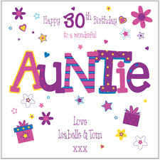 Personalised 30th birthday card Auntie Any Age/Name/message