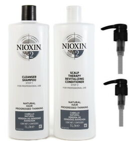 NIOXIN SYSTEM 2 CLEANSER 1 LITRE AND SCALP THERAPY COND 1 LITRE DUO WITH PUMPS