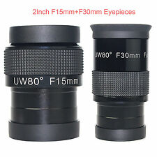 2inch Telescope Eyepiece Fully Multi-Coated Lens F15mm+30mm Ultra Wide Angle 80°