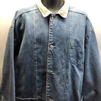 Vintage Tommy Hilfiger Mens Jean Jacket Blue Denim Button Coat Size Large