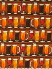"Fat Quarter Glasses of Beer Drink Novelty Cheers 18""x21"" FQ Robert Kaufman Bar"
