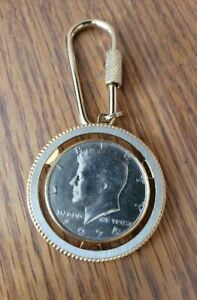 Kennedy Half Dollar Keychain with Gold Accents - Great Condition.