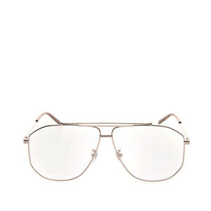 RRP €655 GUCCI Pilot Optical Frame Clear Eyeglasses Triple Bridge Made in Italy