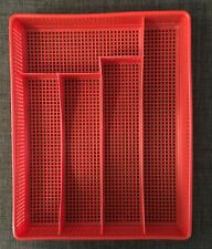 Vintage Red Perforated Plastic Silverware Utensil Tray Drawer Organizer, GOOD!!