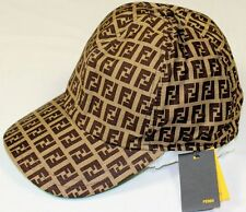 FENDI HAT BROWN/LIGHT BROWN/GREEN ACCENTED LOGO ZUCCA COTTON BALL CAP SM 57 NEW