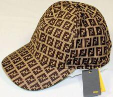 FENDI HAT BROWN/LIGHT BROWN/GREEN ACCENTED LOGO ZUCCA COTTON BALL CAP SM 57 NEW