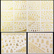12 Stk Nagelsticker Gold Silver 3D Weihnachten Thema Nail Art Sticker