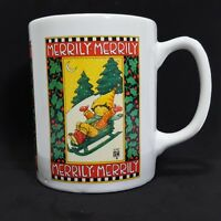 Mary Engelbreit Merrily Coffee Mug White Christmas Winter Sled Tea Cup