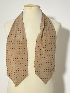 """AMAZING NUDE ASCOT 100% SILK POLKA DOT 58""""/6"""" EXCELLENT CONDITION"""