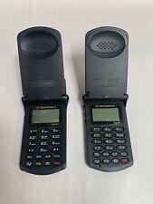 "Lot Of ""2"" Vtg Motorola StarTac Digital Cellular Cell Flip Phone Telephone (A6)"
